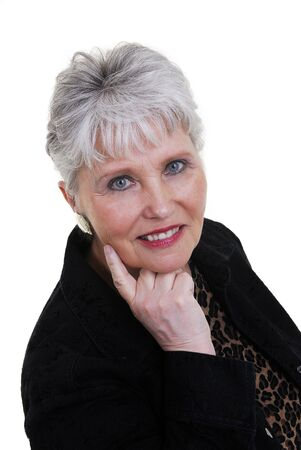 aging woman: a beautiful active woman over  60.