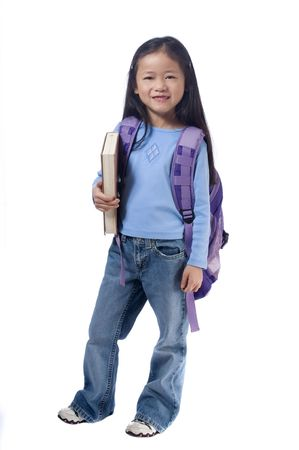 A young girl is ready for school. Education, Future