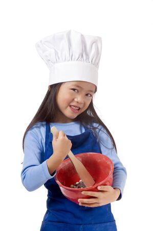 Ein junges Mädchen Spaß in der Küche ein Chaos .... ich meine, dass Cookies. Standard-Bild - 3522935