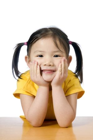 preschool children: A young asian american girl smiling.  Education, Future Stock Photo