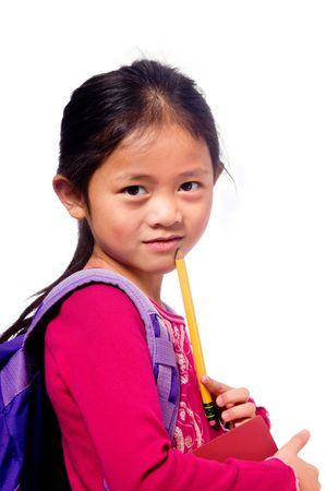 a young asian school girl ready for school Stock Photo - 5477043