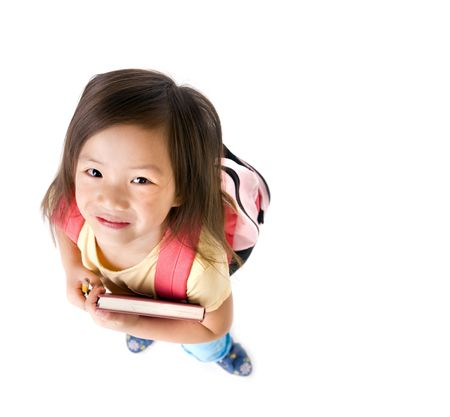 a young asian school girl ready for school Stockfoto