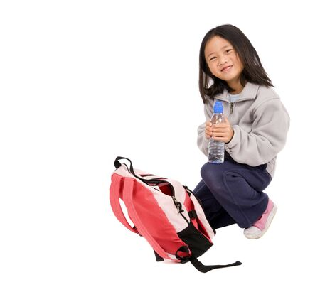 a young asian school girl ready for school Stock Photo - 5477118