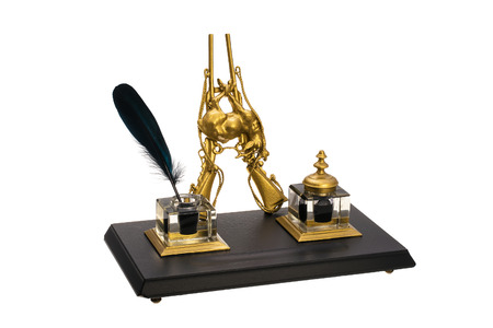 inkstand: Antique gold-plated inkstand and black feather
