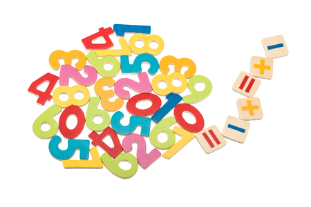 additional training: Colorful wooden numbers and mathematical signs isolated on white background