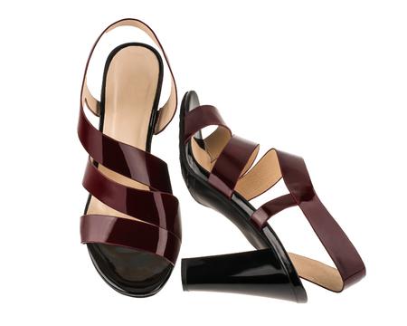 Womens patent leather sandals Reklamní fotografie