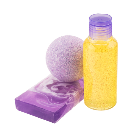Composition of cosmetic products - bath bomb, handmade soap, bottle with scrub