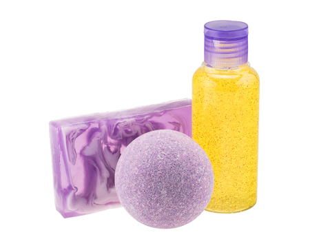 Purple bath bomb, handmade soap and cosmetic bottle