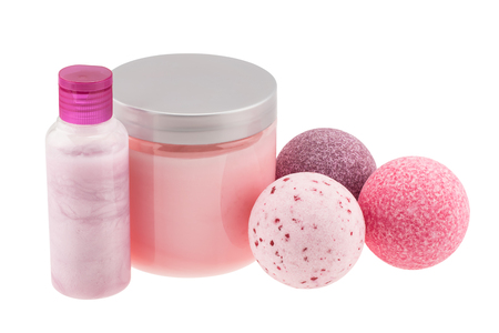 Bath balls and cosmetic bottles 스톡 콘텐츠