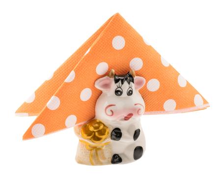 Decorative napkin holder with polka dot napkins 스톡 콘텐츠