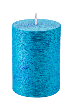Blue candle with spangles isolated over white 스톡 콘텐츠