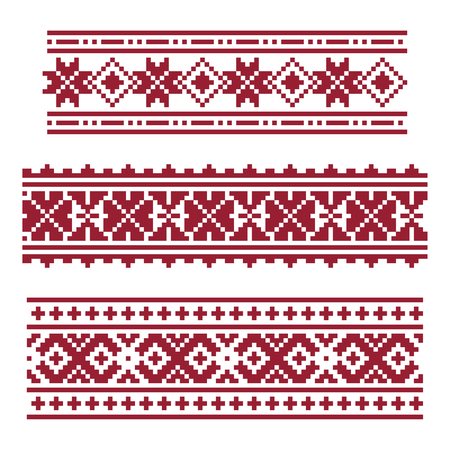 Dark red national latvian ornament in pixel art style