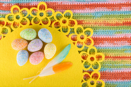 Colorful spring composition with Easter decoration