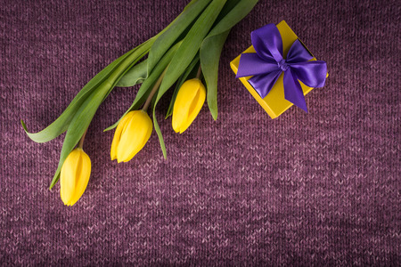Yellow tulips and gift box on violet knitted background