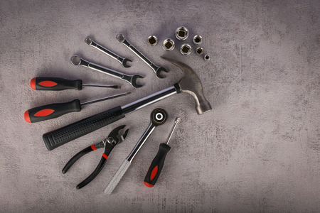 Composition of various construction tools, flat lay