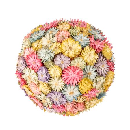 Ball of small dried multicolored flowers