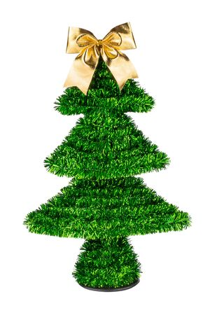 Decorative Christmas tree with golden bow