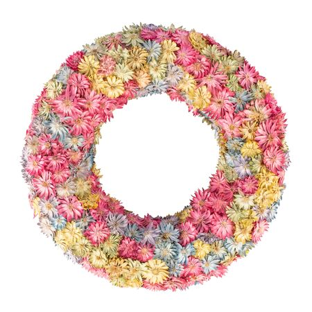 Floral multicolored dried wreath isolated over white 스톡 콘텐츠