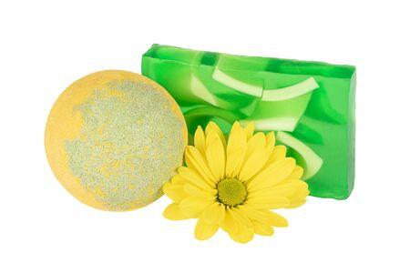 Bath ball, handmade soap and yellow flower