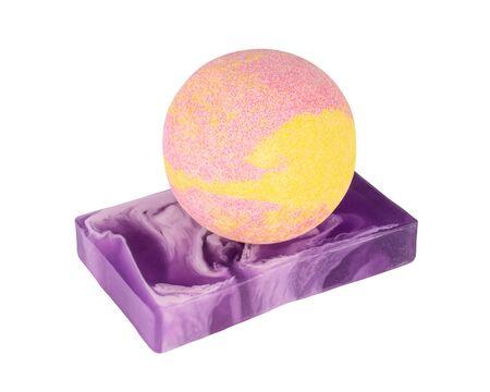 Colorful handmade soap and bath ball. Bath concept 스톡 콘텐츠