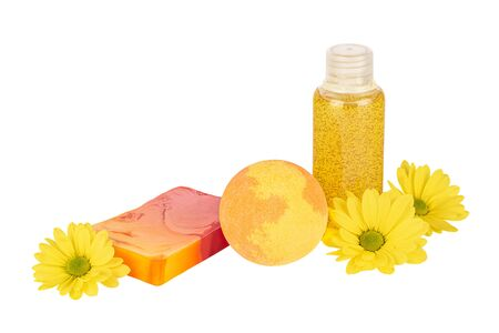 Composition of cosmetic products in shades of yellow 스톡 콘텐츠