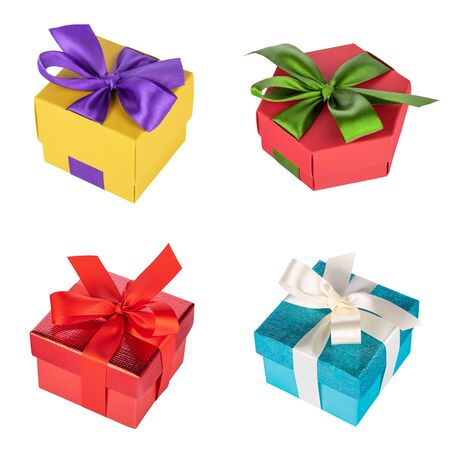 Set of multicolored gift boxes isolated on white background