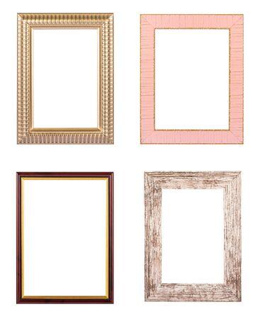 Set of various photo frames isolated on white background