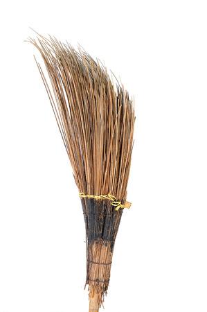 stiff broom Isolated on white 版權商用圖片