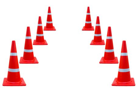Set of traffic cone isolated on white background