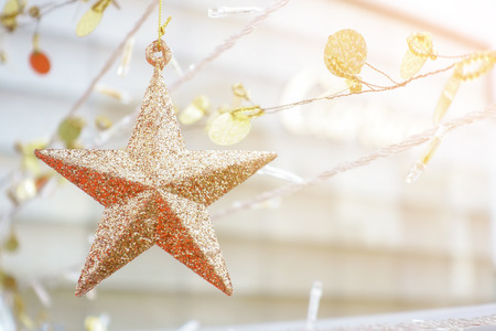 Golden glittering star shaped, Christmas ornament Stok Fotoğraf