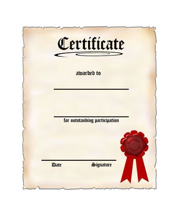 participation: Oldstyle Certificate for Participation Stock Photo