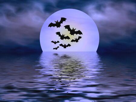 bleak: Bats and moon Stock Photo