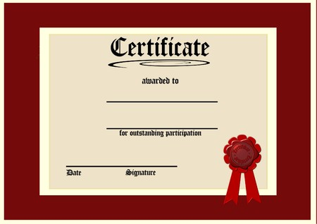 Certificado de Participaci�n Foto de archivo - 4522638