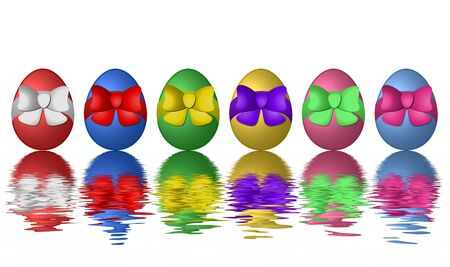 set of easter eggs at the water photo