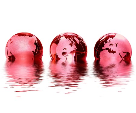 glas: swimming red glas globes