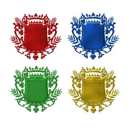 armory:  set of colorful heraldic shields