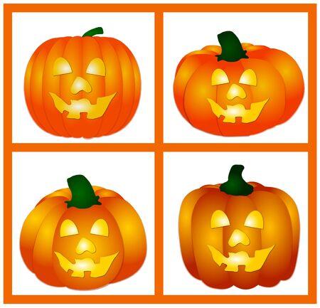 bordering: set of pumpkins on white background