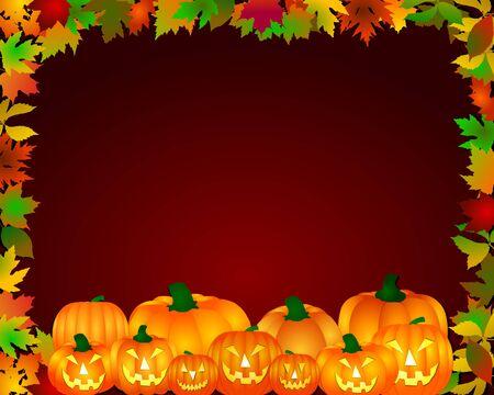 bordering: halloween frame with pumpkins