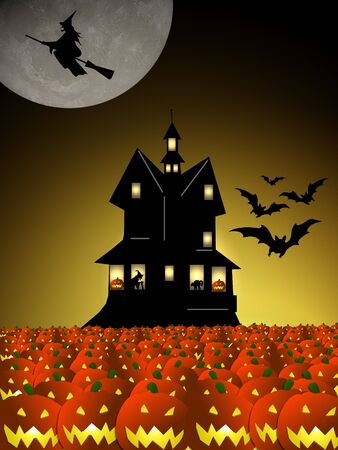 bordering: halloween house with pumpkins