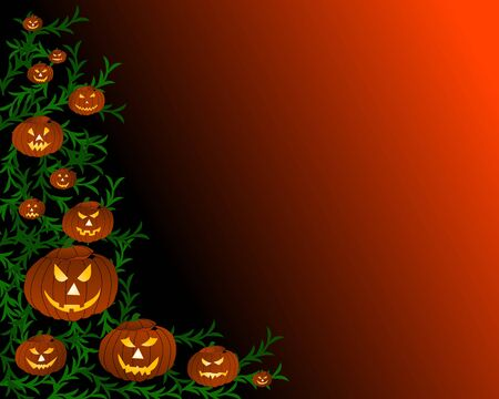 bordering: halloween background with pumpkins Stock Photo