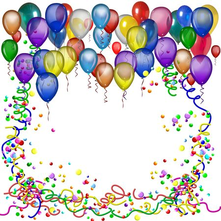 balloon border: Birthday or party poster with balloons Stock Photo