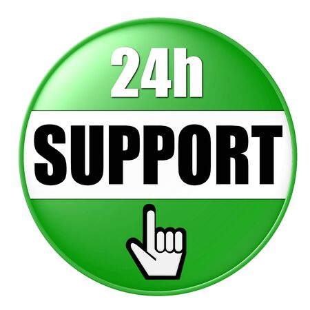 24h: 24h support button green Stock Photo
