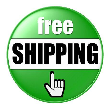 free shipping button green photo