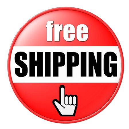 free shipping button red photo