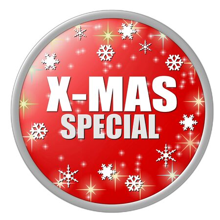 onlineshop: x-mas special button red Stock Photo