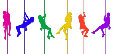colorful climbing silhouettes 3 Stock Photo