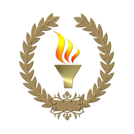 Laurel wreath sports competition flame gold