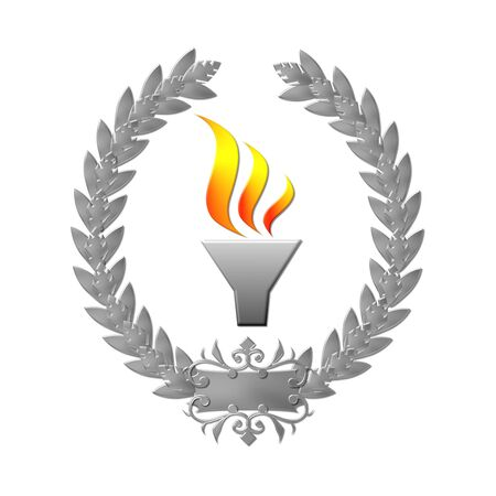 laurel leaf: Laurel wreath sports competition flame silver