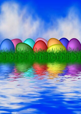colorful easter eggs at the water photo