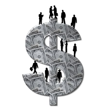 dollar money sign with business people photo